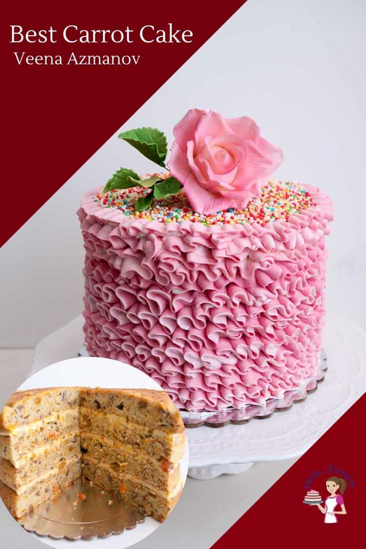 A carrot cake decorated with pink buttercream.