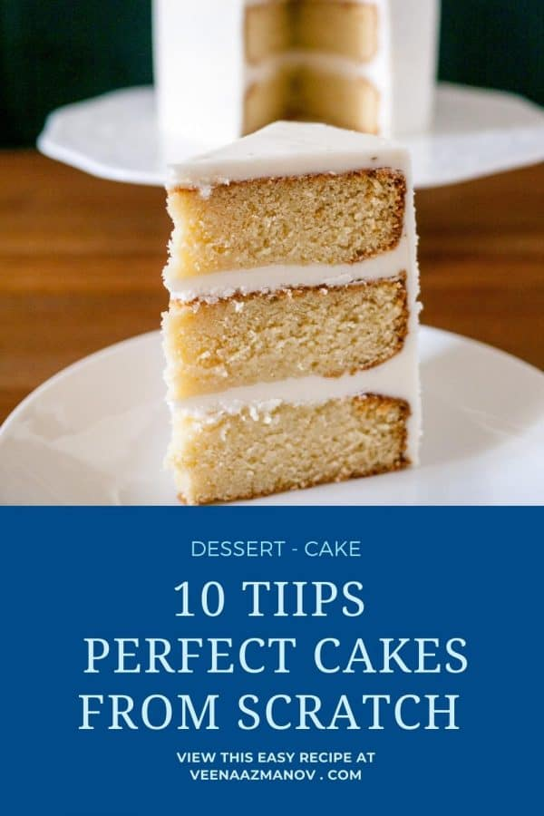 Pinterest image - baking tips for perfect cakes.