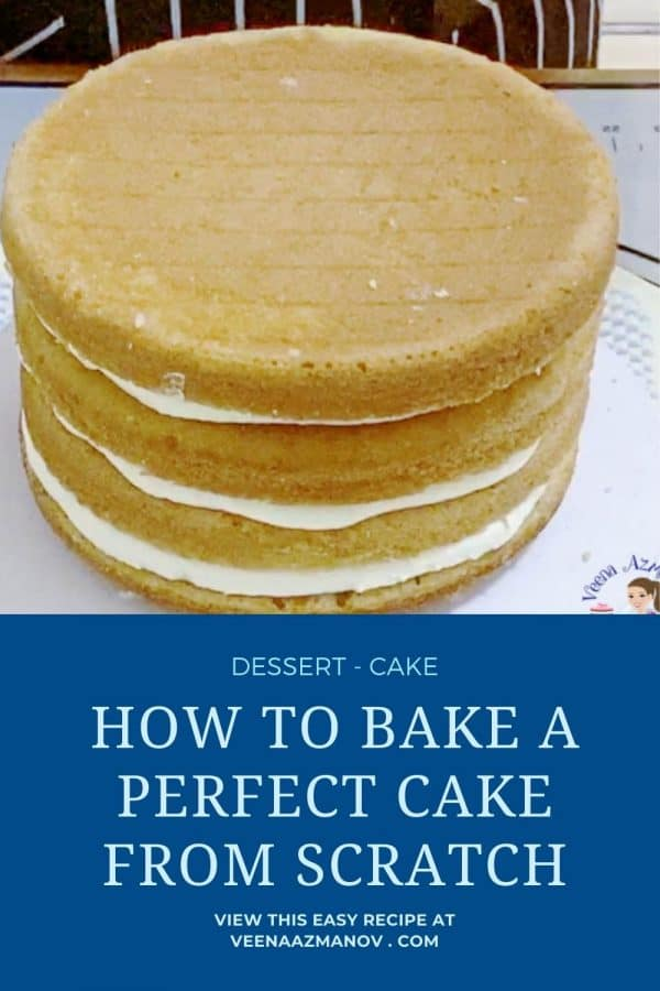 Pinterest image for baking a cake from scratch.