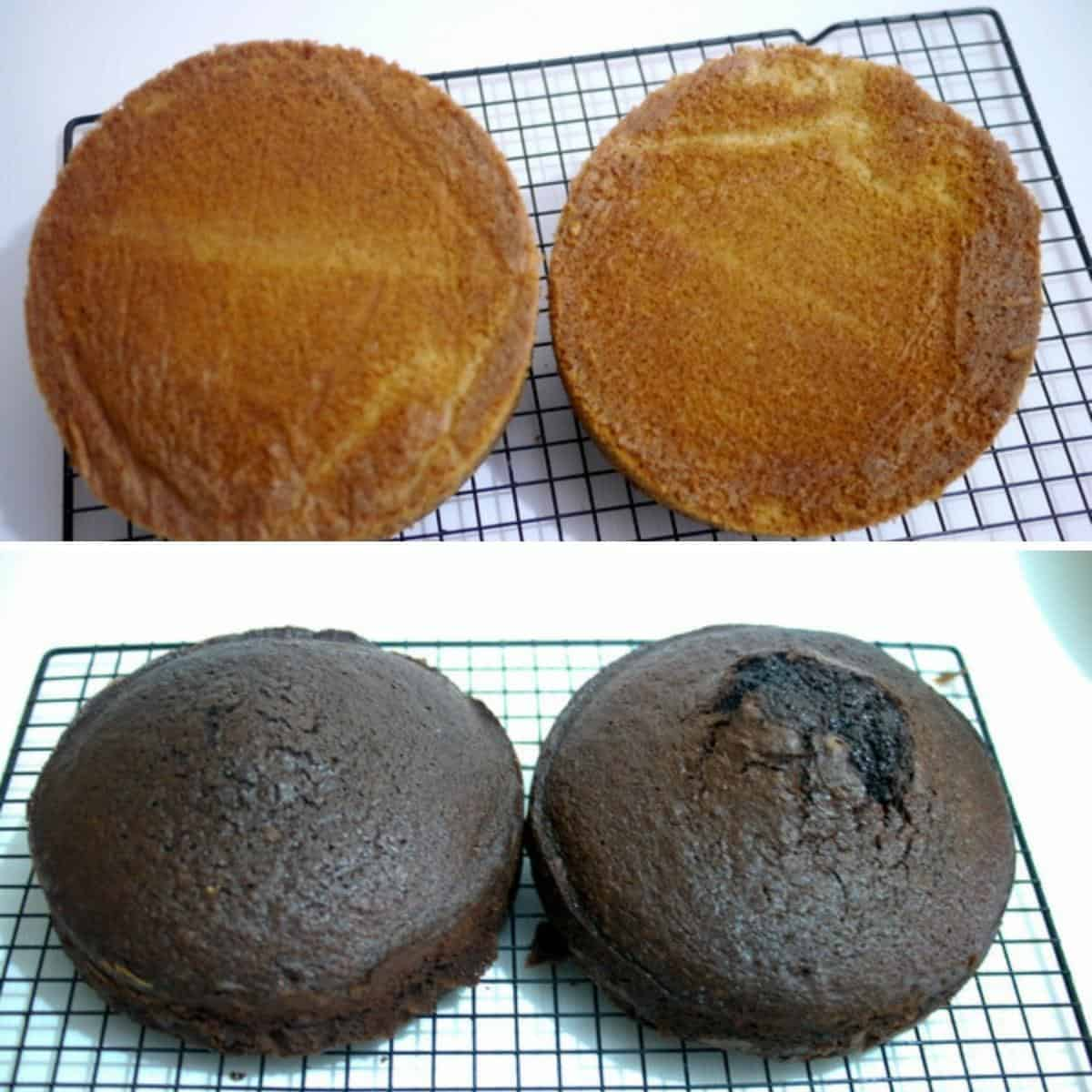 Baking tips - Vanilla and chocolate cake layers cooling on a cooling rack.