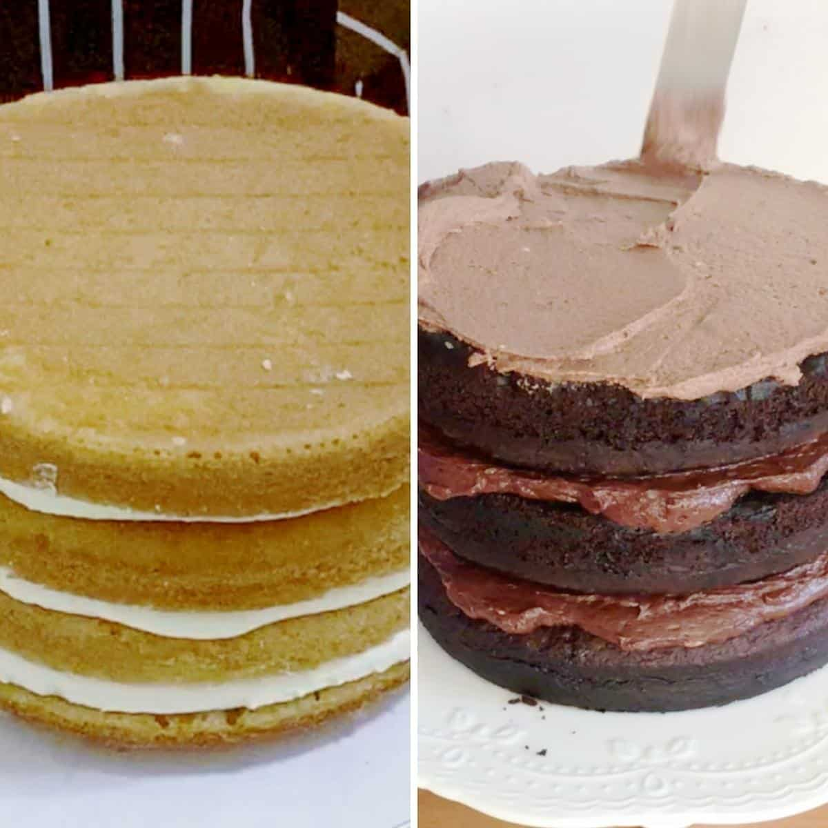 Frosting a vanilla and chocolate cake.