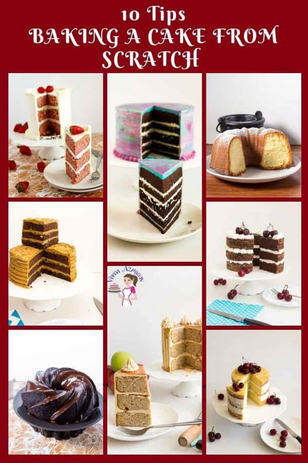 10 tips on how to bake a cake from scratch with recipes included.