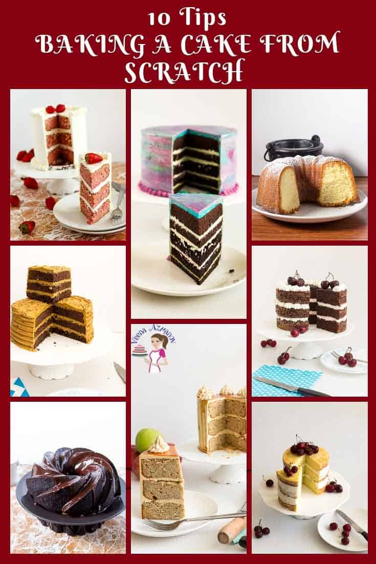 A collage cakes.