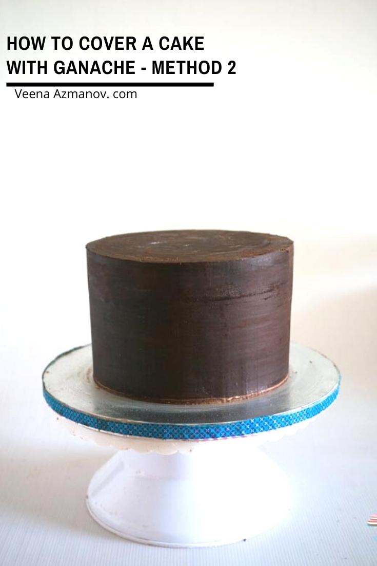 Cake covered with ganache.