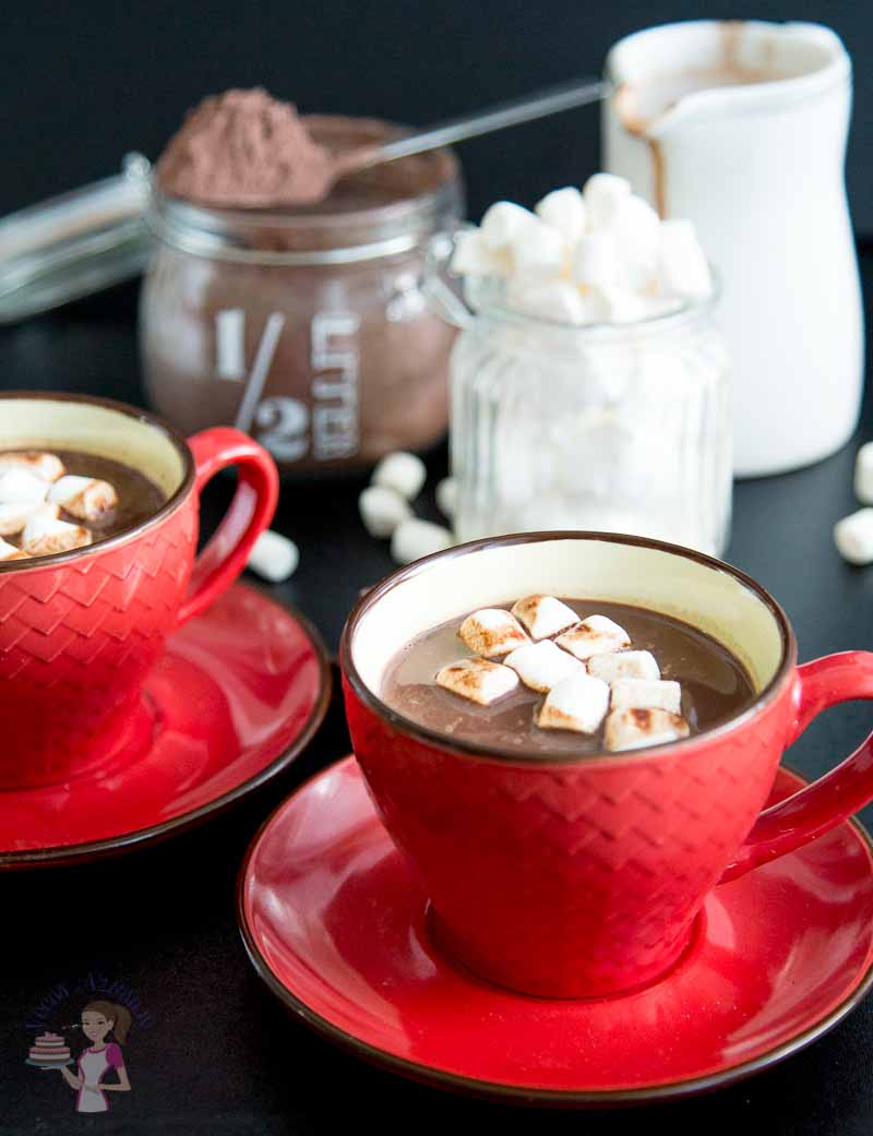 Two cups of Homemade Hot Chocolate Recipe featuring the perfect drink for a Valentines Day Celebration