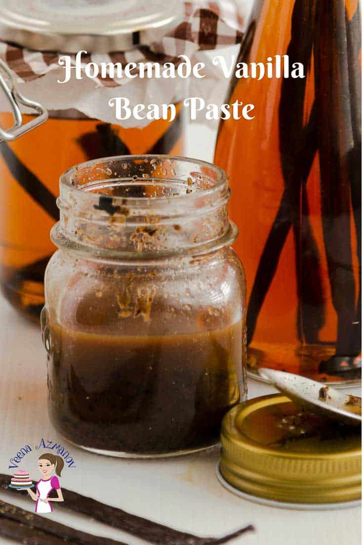 A Pinterest Optimized Image for how to make homemade Vanilla Bean Paste showing a small mason jar of vanilla bean paste.