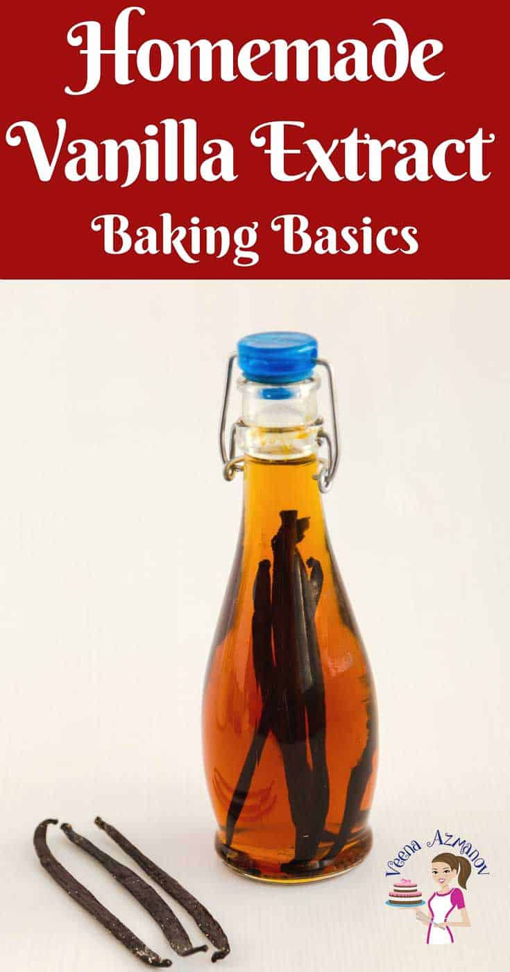 A Pinterest Optimized image for how to make Homemade Vanilla Extract. Showing a bottle of vanilla extract with vanilla beans