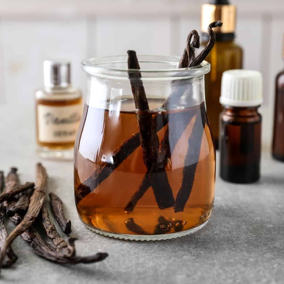 A jar with seeping vanilla extract