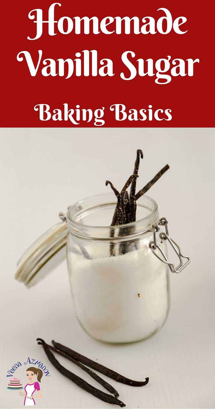 A Pinterest Optimized image on how to make Homemade Vanilla Sugar. Showing a glass jar of white granulated sugar with vanilla beans