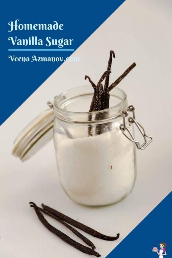 A mason jar with vanilla beans and sugar