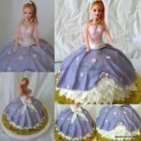 A collage of a princess cake.