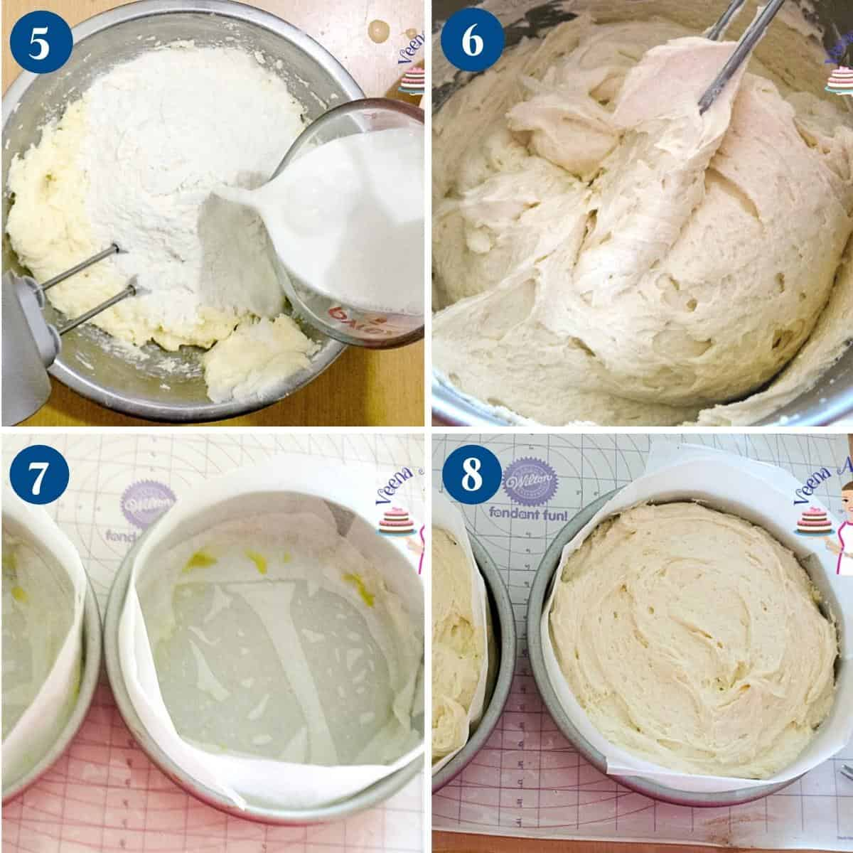 Progress pictures collage making the cake batter from scratch.