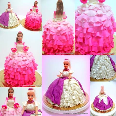 A collage of princess doll cakes.