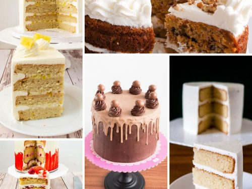 A collage of layer cakes.