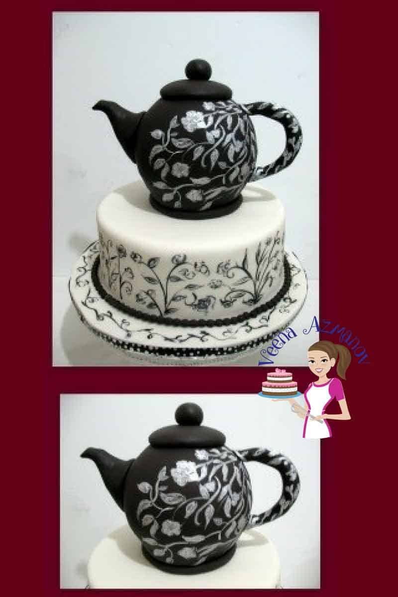 A cake decorated to look like a black tea pot.