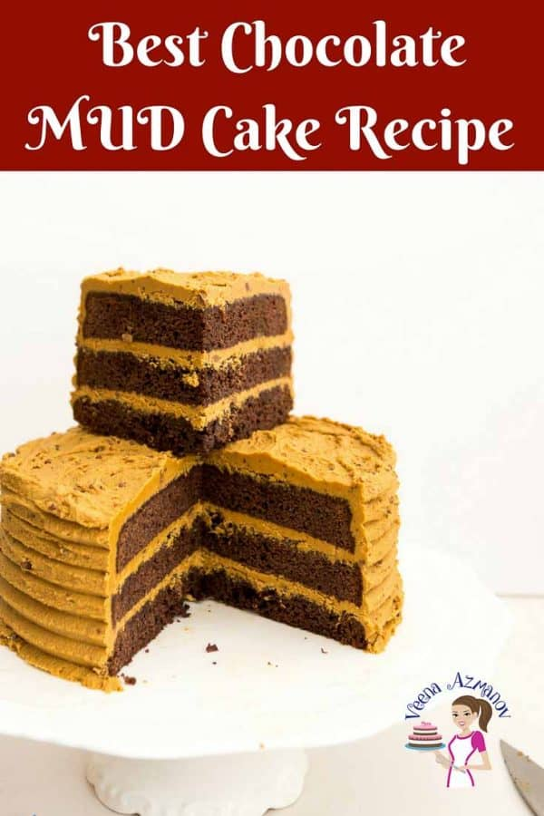 The BEST Mud Cake Recipe - An image optimized for social sharing for this mud cake recipe, rich, dense and perfect for any chocoholic who loves chocolate chocolate and more chocolate.