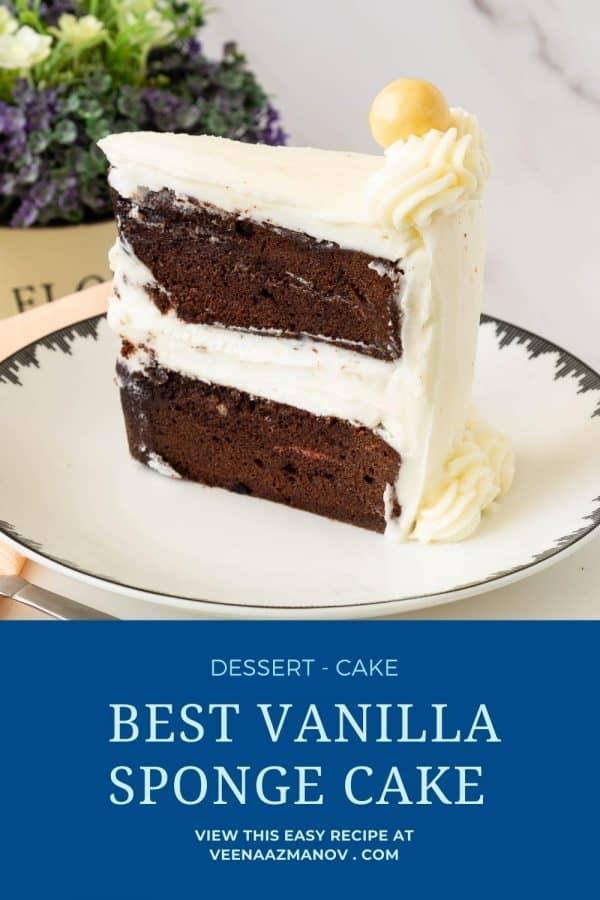 Pinterest image for chocolate sponge cake.