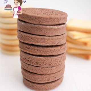 A stack of chocolate sugar cookies.