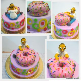 Doughnut cake with Homer Simpson
