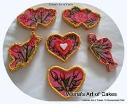 Hand painted Rose Bud Cookies
