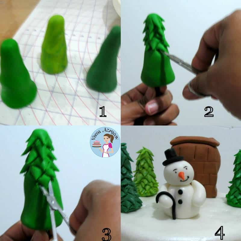 A Christmas Cake with gumpaste snowman and Christmas Tree. Here I have shown you a simple and easiest Christmas Tree tutorial along with the Chimney and Snowman too! I hope you enjoy this little tutorial.