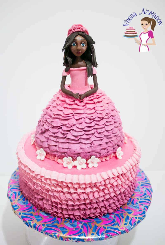 A pink princess ruffles cake.