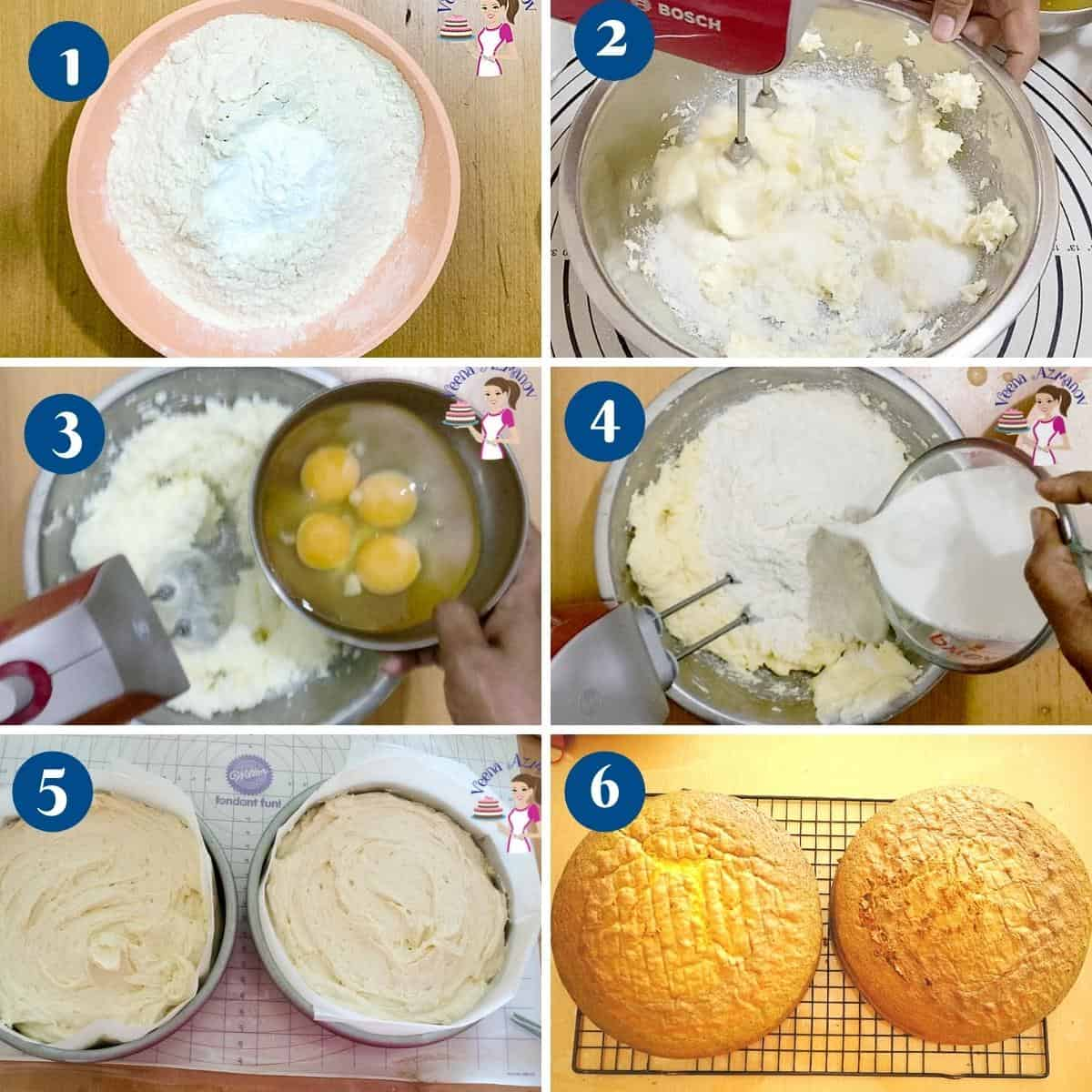 Progress pictures collage making a vanilla sponge cake.