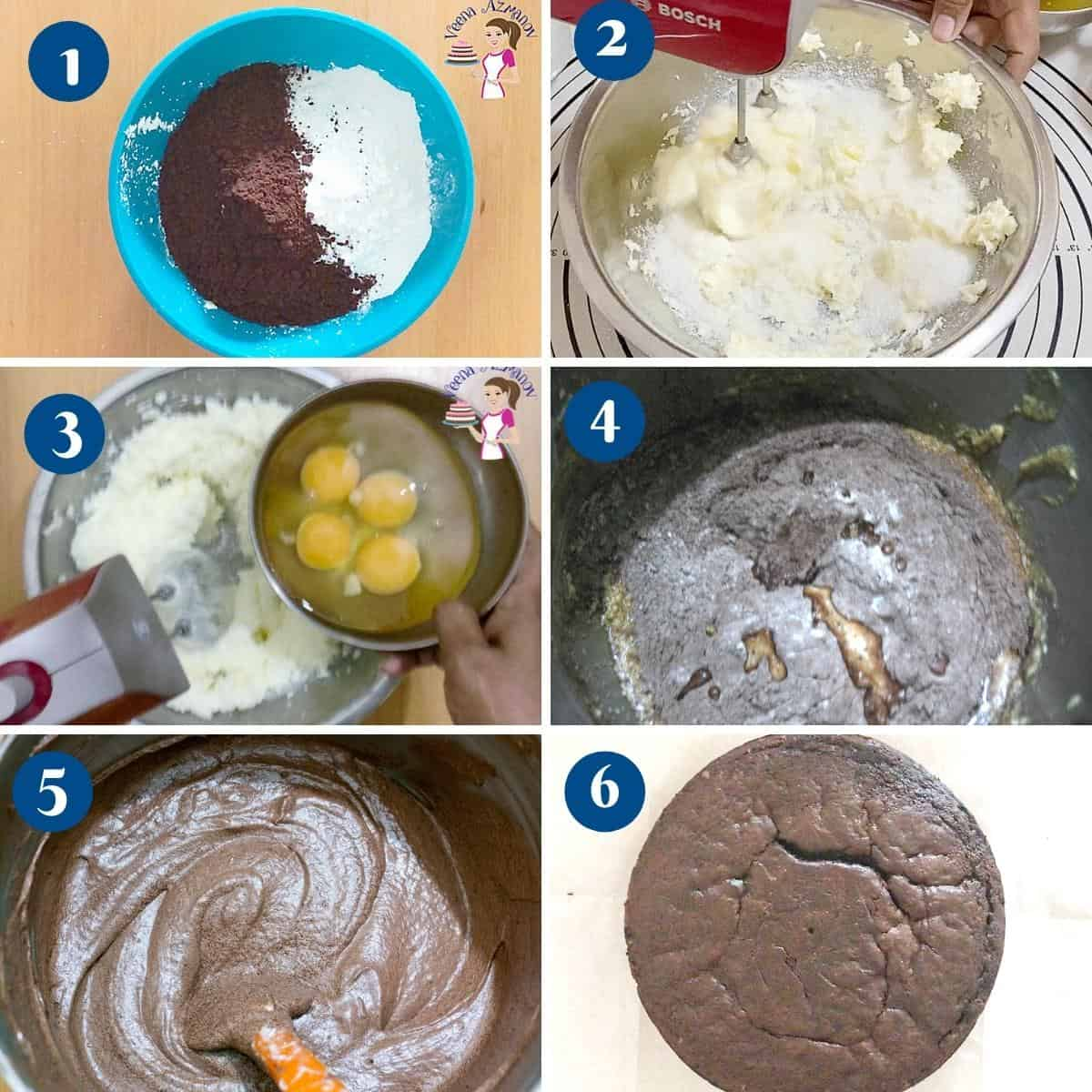 Progress pictures collage making the chocolate sponge cake.