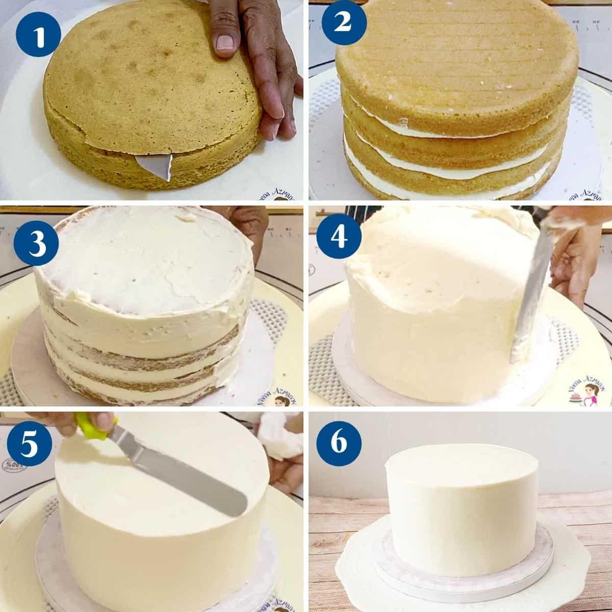 Progress pictures collage frosting the vanilla sponge cake.