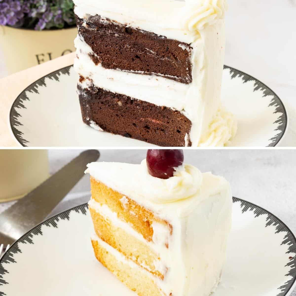 Two slices of cake on the plate.
