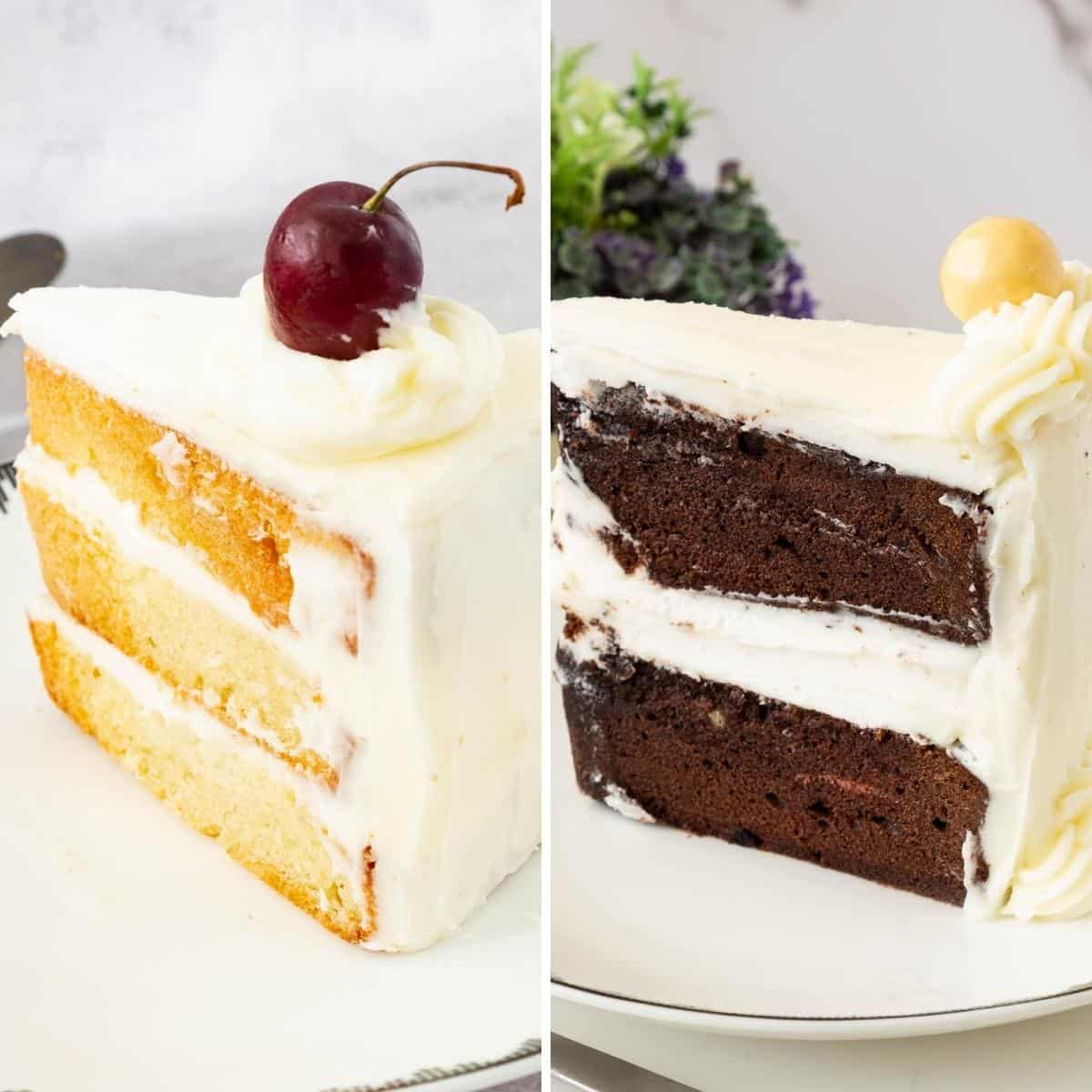 Vanilla and chocolate cake sliced on a plate.