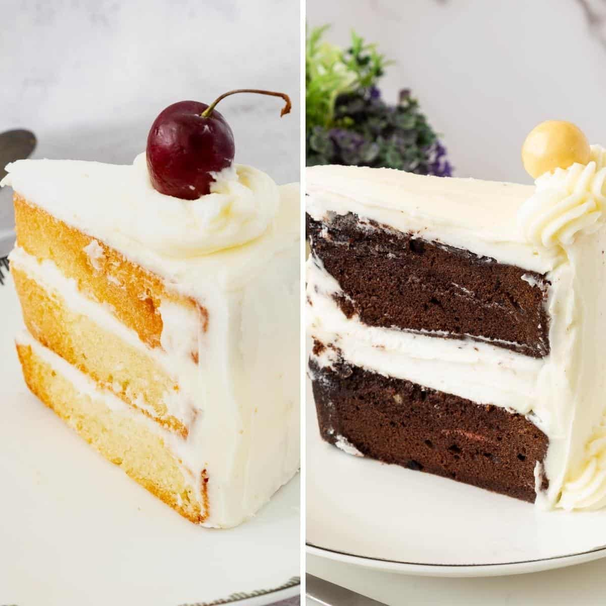 Two plates with vanilla and chocolate cakes slices.