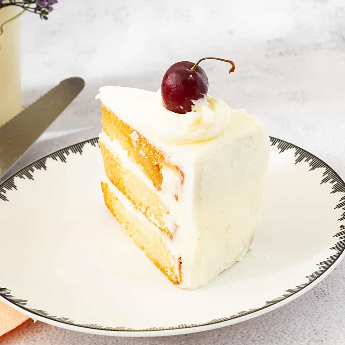 Vanilla sponge cake on a plate.