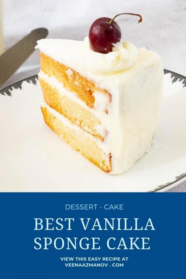 Pinterest image for vanilla sponge cake.