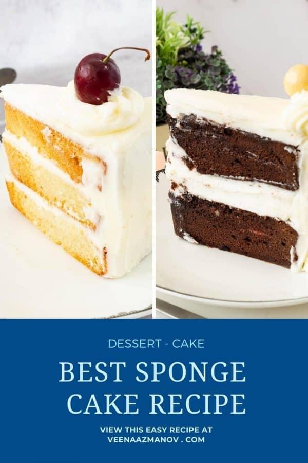 Pinterest image for sponge cake.
