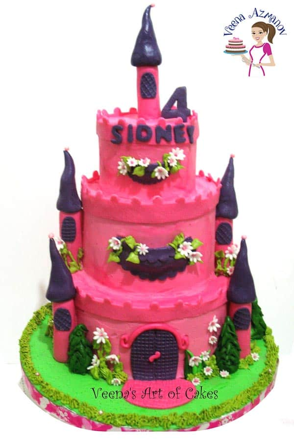 A Buttercream Castle Cake in Pink piped with Velvet American Buttercream by Veena Azmanov