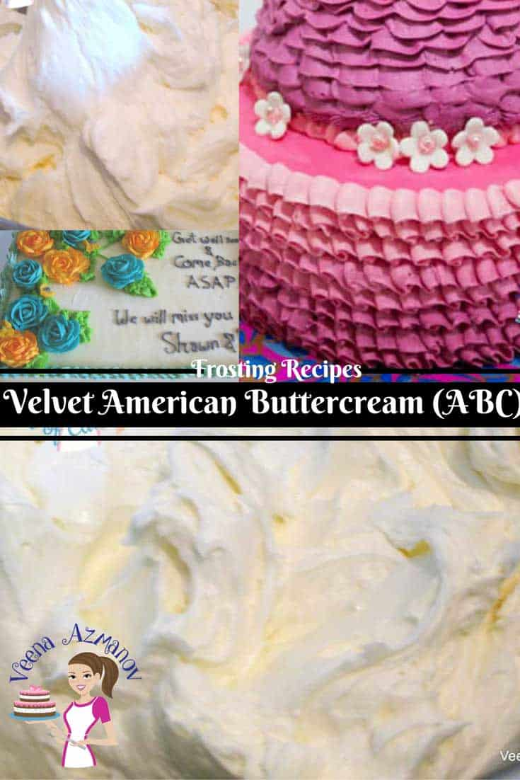This velvet American Buttercream is my most requested recipe. It has a glossy sheen due to the unique method I use in making it. It taste delicious and has a velvet smooth texture that almost melts in the mouth.