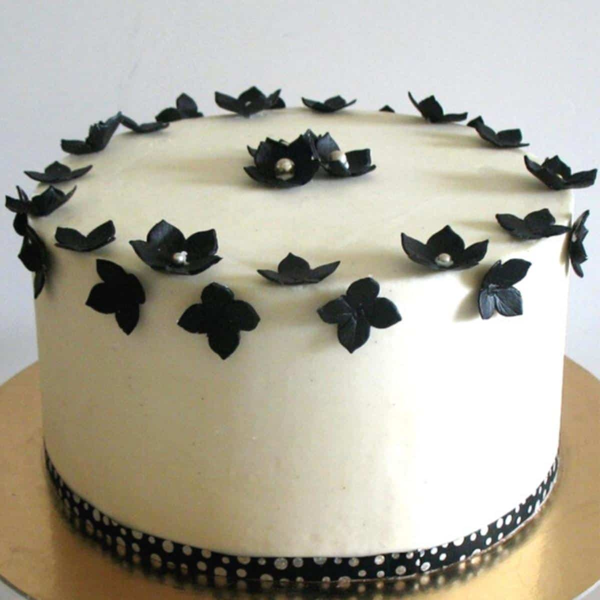 A buttercream frosted cake with American buttercream.