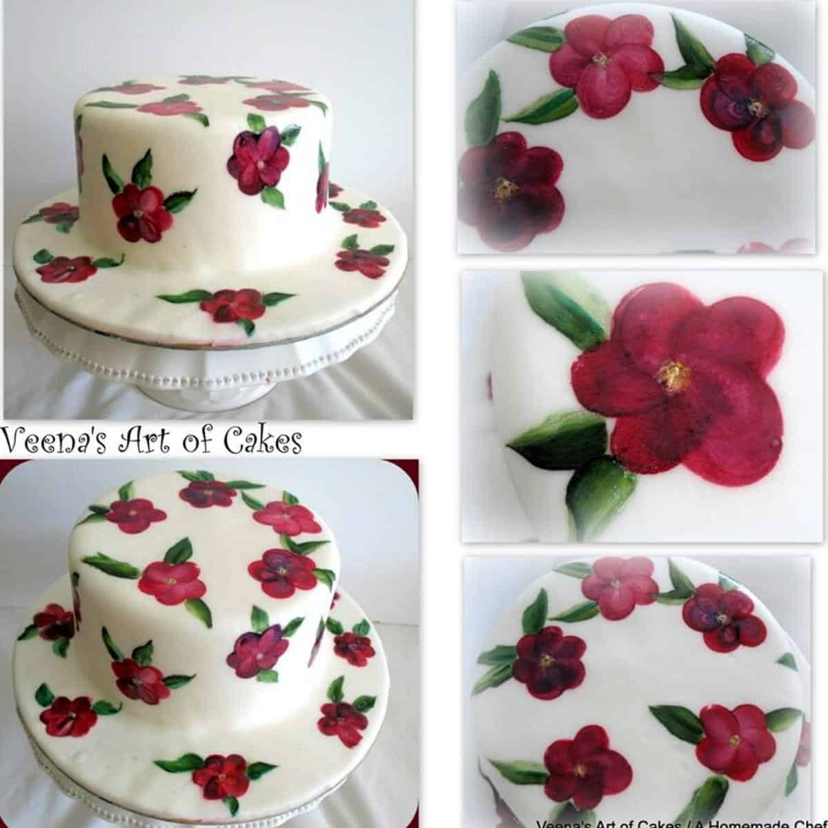 A hand painted fondant cake with American Buttercream Frosting.