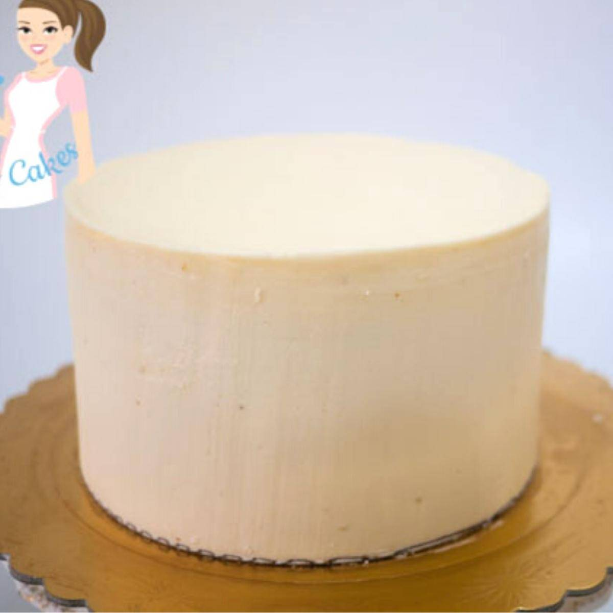 A round cake with Velvet American Buttercream Frosting.