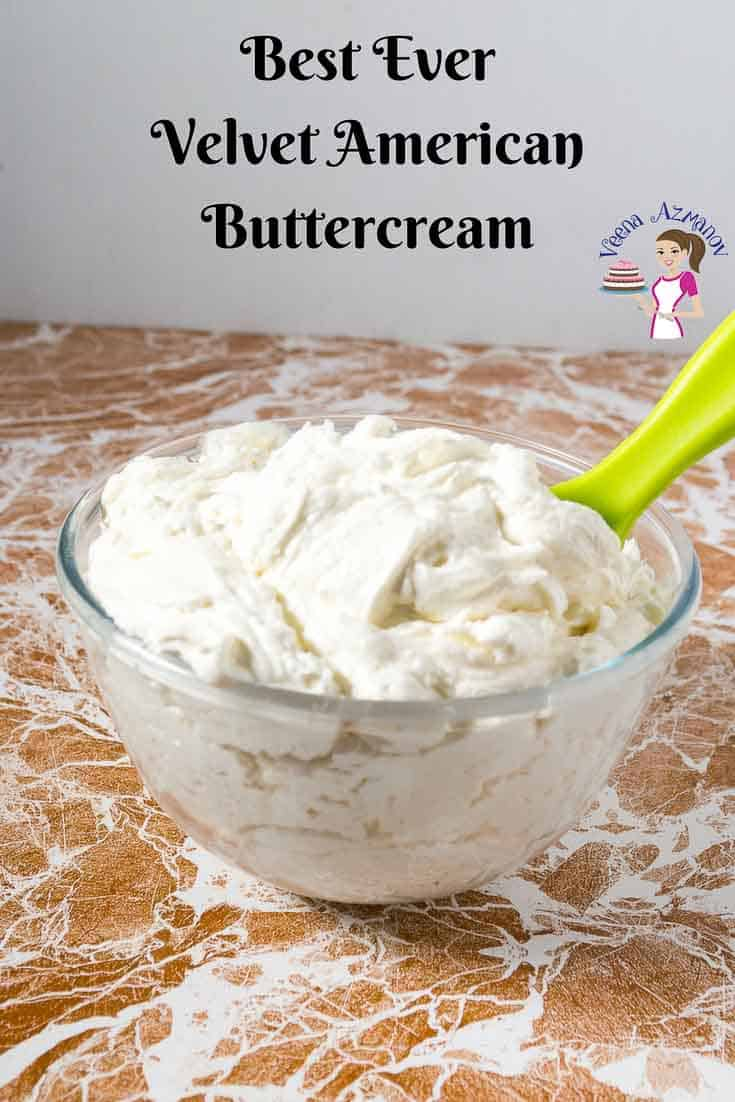 A Pinterest Optimized Image for Velvet American Buttercream by Veena Azmanov made with meringue powder and whipping cream