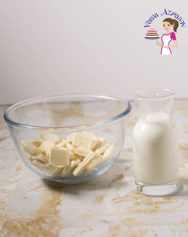 An image optimized for social sharing for this step by step video tutorial on how to make the best white chocolate ganache recipe.