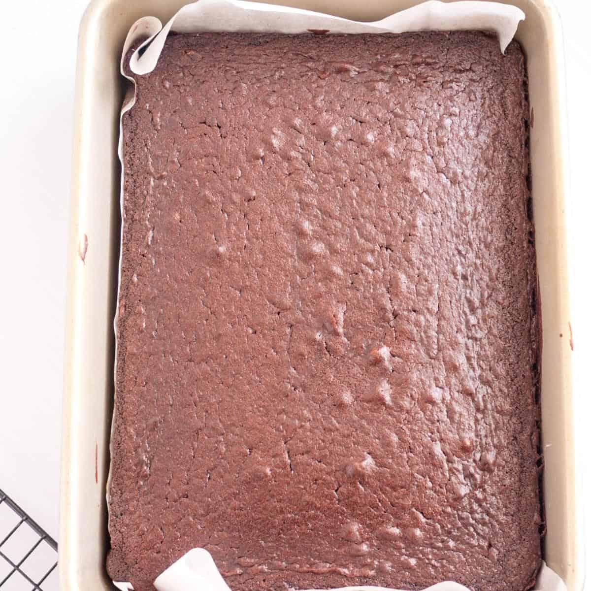 Sheet cake in a sheet pan.