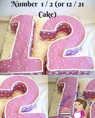A cake designed to look like the number 12