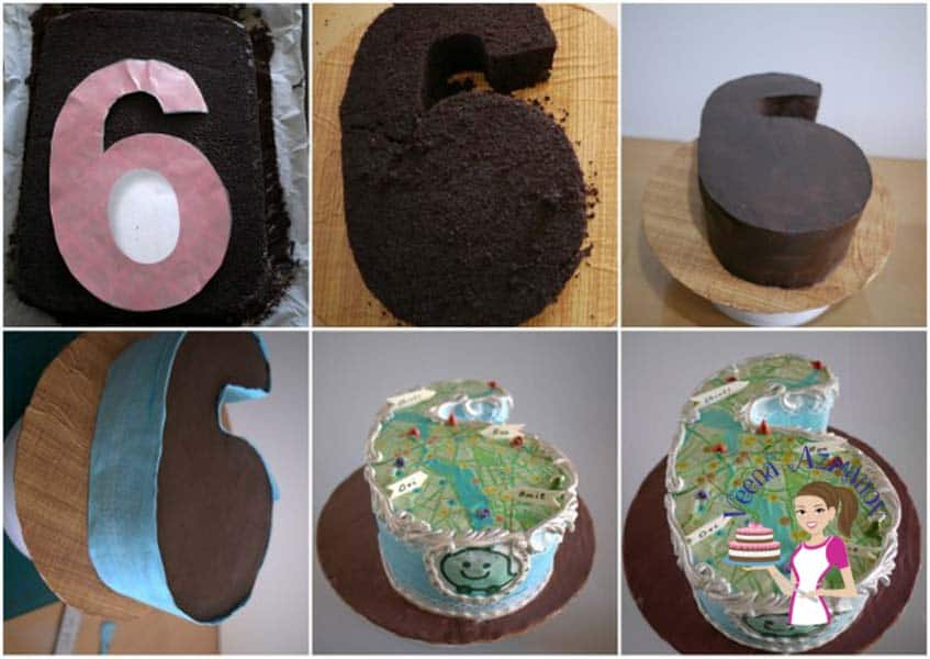 Progress photos of making a cake designed to look like the number 12.