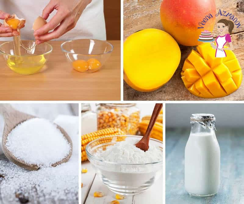 A collage of the ingredients for making mango mousse.