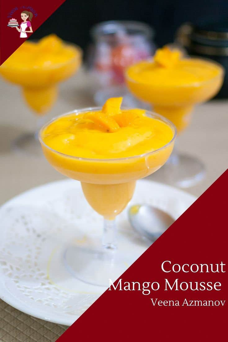 This vegan mango mousse is basically a mango coconut cream mousse made with just four simple ingredients. A simple and easy recipe that's refreshing and light yet rich and creamy. Whether you use fresh, frozen or canned mangoes this dessert is a treat you can enjoy any time of the year. #mango #mousse #mangomousse #mousserecipes #mangorecipes #summer via @Veenaazmanov