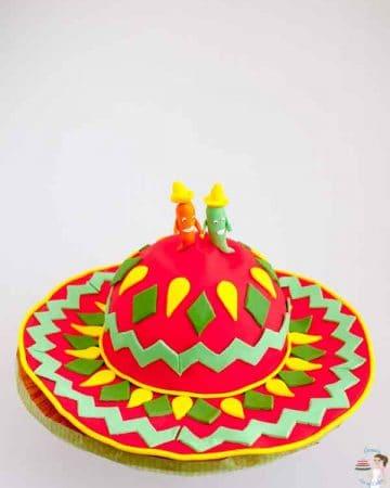 A cake shaped like a Mexican sombrero.
