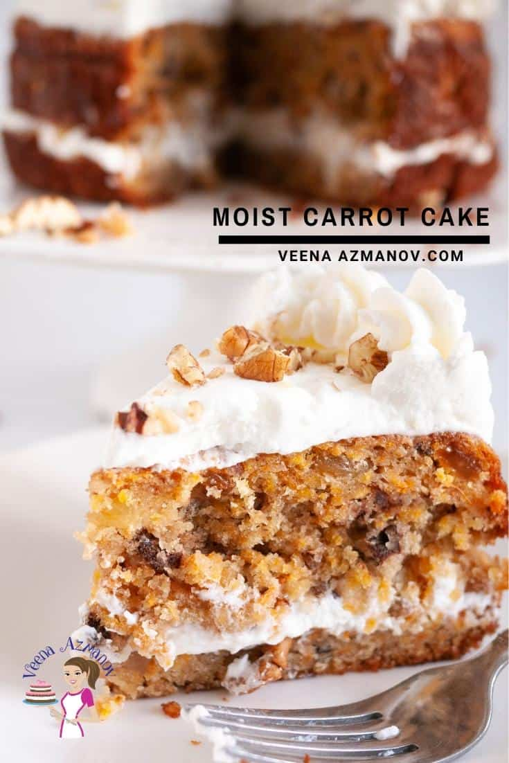 A slice of moist carrot cake with cream cheese frosting.