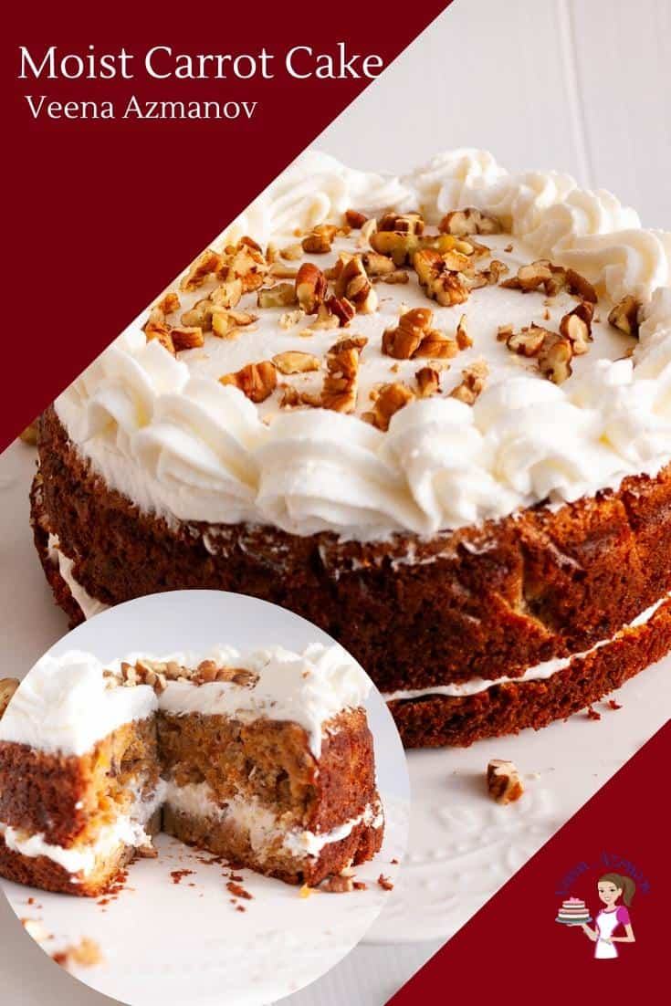 If you're looking for the best moist carrot cake recipe your search ends here. After years of testing and tweaking, this recipe has now become my go-to recipe. Its incredibly moist, rich and loaded with fresh carrots, raisins, and walnuts. Frosted with my popular no-butter cream cheese frosting this is a must-try recipe. #carrot #cake #carrotcake #cakerecipes #carrotcakerecipes #eastercakerecipe via @Veenaazmanov